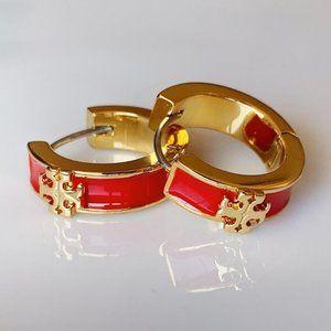 Tory Burch red logo huggie earrings